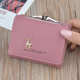 Pink cute wallet online shopping - Cartoon Leather Women Purse Pocket Ladies Clutch Wallet Women Short Card Holder Cute Girls Deer Wallet Cartera Mujer W061