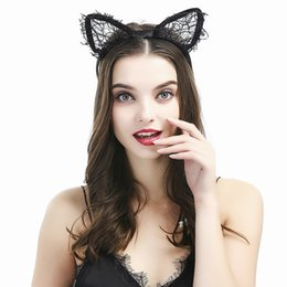 sexy white hair 2019 - 1PC New Summer Style Girls Black Lace Cat Ear Headband Hairband Princess Hair Accessories Party Headdress Sexy Cute Hair