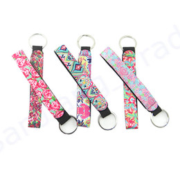 EastEr lily charm online shopping - Valentine s Day Gifts Lily Long Strip Key Buckle Submersible Material Keychain Color Printing Keyring Phone Strap Charms Key Ring Pendant