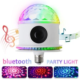 disco crystal balls 2019 - E27 LED Stage Light RGB Bluetooth Speaker Crystal Ball LED Music Bulb 85-265V DJ Disco Party Lamp for Birthday Parties C