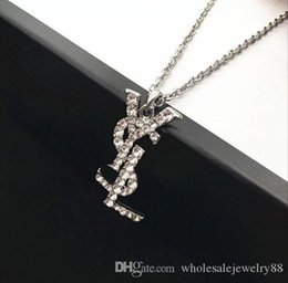 bling clothes accessories UK - Wholesale Brand Letters Ys Pendant Necklaces Bling Bling Crystal Rhinestone Letters Sweater Chain Women Clothing Accessory Jewelry