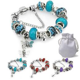 $enCountryForm.capitalKeyWord NZ - 2019 Luxury Designer Women Charms Bracelet Fit Pandora Lampwork Murano Glass Crystal Beads Silver Butterfly Pendant Purse Bangle Female P141