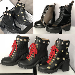 Genuine leather cowboy belts online shopping - 2019 Designer Bee Platform Desert Boots Lady leather Ankle boots High Heel Martin shoes Print Check tweed with belt Good quality colors