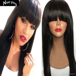 $enCountryForm.capitalKeyWord Australia - Peruvian Hair Full Fringe Wig Human Hair Glueless Front Lace Wig With Bangs Bleached Knots Lace Wigs For Black Women
