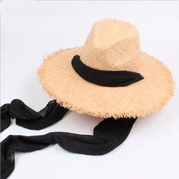Large bLack fLoppy sun hat online shopping - NEW Floppy Raffia Sun Hats For Women Black Ribbon Lace Up Large Brim Straw Hat Outdoor Beach Summer Caps Chapeu Feminino