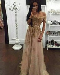 $enCountryForm.capitalKeyWord Australia - 2019 Champagne Lace Beaded Arabic Evening Dresses A-line Tulle Off the Shoulder Prom Dresses Vintage Cheap Formal Party Gowns Designer