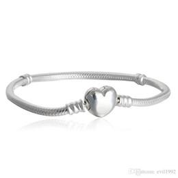 Wholesale 1pcs Drop Shipping Factory Silver Plated Heart Bracelets Snake Chain Fit for pandora Bangle Bracelet Women Children Gift B002