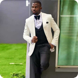 $enCountryForm.capitalKeyWord Australia - Latest Coat Pants Design Ivory Men Suits for Wedding Groom Wear Slim Fit Tuxedo Prom Man Blazer trajes de hombre 3Piece Terno Masculino