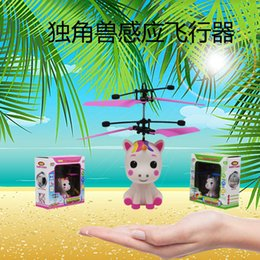pink helicopter toy NZ - Novelty Induction Unicorn Helicopter Toys Suspension Fall Resistant Children Induction Aircraft Toys Wholesale
