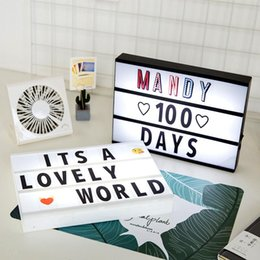 home cinema diy 2019 - Creative Gift DIY Letters Light Box Mini Light Box A4 Size LED Lightbox DIY Cinema Light Box For Wedding Room Party Home