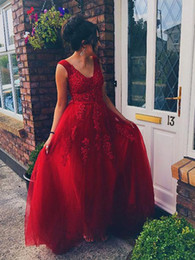 $enCountryForm.capitalKeyWord Australia - Free Shipping A Line V Neck Floor Length Tulle Red Prom Dresses Lace Top Beaded Formal Special Occasion Evening Dresses