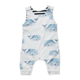 whale baby clothing 2020 - Baby Clothing Newborn Infant Baby Boys big head Whale Romper Sleeveless Jumpsuit Outfit Children's Clothes 0-3T che
