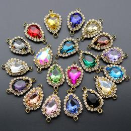 $enCountryForm.capitalKeyWord NZ - 10pcs Rhinestone Crystal Glass Charm Earrings Bracelet Clasp Connectors Birthstone Charms Pendant for Jewelry Making Diy Finding