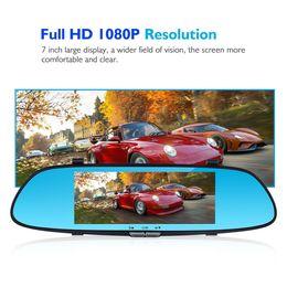 Vehicle Rearview Camera Australia - HD 1080P Dual Lens 7'' Vehicle Rearview Mirror Camera Recorder Car DVR Dash Cam DHL Free Shipping
