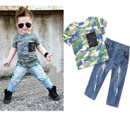 $enCountryForm.capitalKeyWord Australia - Boy 2pcs Set INS Kids short sleeve shirt & broken-hole jeans Outfit Children boy Spring Autumn cool Clothing