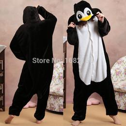 Sleepwear Costumes Australia - Black Penguin Pajamas Animal Party Cosplay Costume Flannel Onesies Game Cartoon Animal Sleepwear