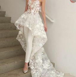 Zuhair Murad Lace Dress White Australia - Bohemian White Jumpsuits wedding dress Long Train 2019 Zuhair Murad Sweetheart Lace 3D Floral Appliques bridal wedding gown
