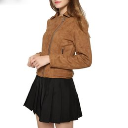 female brown leather jacket NZ - New Fashion Women suede motorcycle jacket Slim brown full lined soft faux Leather female coat veste femme