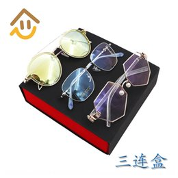 white leather storage boxes UK - High-end folding Handmade case case packaging leather sun box handmade myopia glasses glasses storage box