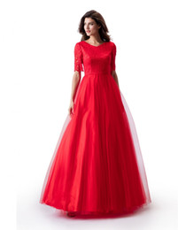 $enCountryForm.capitalKeyWord UK - New A-line Red Long Modest Prom Dress With Short Sleeves Lace Top Tulle Skirt Teens Simple Formal Modest Prom Gowns Floor Length