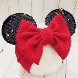 $enCountryForm.capitalKeyWord Australia - New Girls Cartoon Mouse Ears Headband Big Hair Bow Headband Headwrap Fabric Elastic Bowknot DIY Hair with Bows Bandeau Bebe Fille Accessory