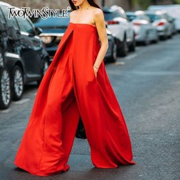 $enCountryForm.capitalKeyWord NZ - Twotwinstyle Strapless Red Wide Leg Women's Romper Oversized Asymmetrical Jumpsuits For Women 2018 Autumn Fashion Streetwear Y19060501