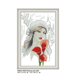 $enCountryForm.capitalKeyWord Australia - Beauty and Calla Aida Painting Counted Printed Cross stitch kits DMC 14CT 11CT Cotton Fabric Hotel Home Decor Needlework Factory Wholesale