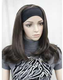 $enCountryForm.capitalKeyWord NZ - Ladies New fashion brown 3 4 headband straight and end synthetic half wig Heat Resistant queen Cosplay hair wigs Free deliver