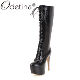 white lace tie up heels NZ - Odetina Womens Stiletto Extremely High Heel Platform Knee Boots Clubwear Sexy Round Toe Lace Up Zipper Cross Tied Winter Boots