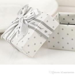 Wholesale Boxes Packaging Australia - ELEGANT WHITE DOT ring, earring, pendant jewelry packaging display box gift wedding favor BOX packing case 5X5CM