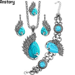 peacock ring bracelet 2019 - ecklace earrings bracelet Vintage Peacock Synthetic Turquoises Jewelry Set Necklace Earring Bracelet Ring For Women Anti