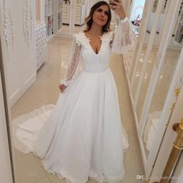 $enCountryForm.capitalKeyWord Australia - 2019 Cheap Bohemian Wedding Dresses Long Illusion Sleeves V Neck Pearls Beads Appliques Beach Bridal Gowns Wedding Dress vestidos de novia