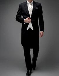 White Suits For Men Black Pants Australia - 3 Piece Man Tail Coat for Formal Wedding Groomsmen Tuxedos 2019 Black and White Bespoke Suit 2019 Male Jacket Pants Vest