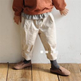 $enCountryForm.capitalKeyWord Australia - INS Newest Autumn Kids Boys Girls Trousers Tatting Cotton Casual Fashion Blank PP Pants Vintage Elastic Waist Children Pants
