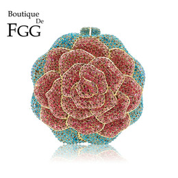 $enCountryForm.capitalKeyWord NZ - Boutique De Fgg Multi Color Crystal Diamond Women Rose Flower Evening Clutch Minaudiere Bag Bridal Wedding Bridal Handbag Purse Y190626