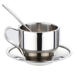 spoon mugs UK - Stainless Steel Coffee Cup Double Wall Vacuum Insulated Coffee Mugs Espresso Tea Cups Cappuccino Restaurant Mug with Spoon and Saucer