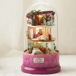 Model Music NZ - Cute Room Diy Dollhouse Miniature Model Doll House Furnitures Rotate Music Box With Dust Cover Gift Toys For Children B031 Q190611