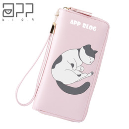 Discount fresh phones - APP BLOG Brand Cartoon Cute Sleeping Cat Zipper Wallet 2018 New Beauty Fresh Purse Phone Bag Girl Teenager Women Birthda