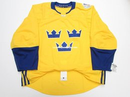 7f5fb4c68 Cheap custom SWEDEN GOLD 2016 WORLD CUP OF HOCKEY TEAM ISSUED JERSEY stitch  add any number any name Mens Hockey Jersey XS-6XL