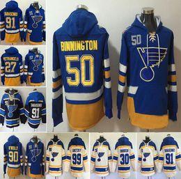 Frete grátis St. Louis Blues 90 Ryan O'Reilly 50 Binnington 27 Alex Pietrangelo 91 Vladimir Tarasenko 99 Wayne Gretzky de Hull Hoodie Jersey em Promoção