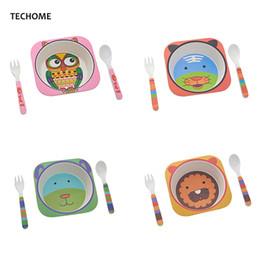 $enCountryForm.capitalKeyWord NZ - Cute Cartoon Animal Baby Dishes Set Melamine Bowl Fork Spoon Bamboo Tableware Kids Set Girls Boys Plate Infant Feeding Dishes