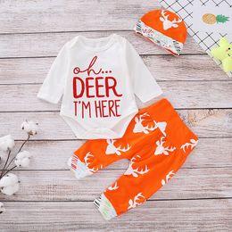 Orange baby rOmper online shopping - Newborn Baby Cartoon Set Infant Boy Girls Letter Cartoon Deer Antlers Romper Kids Designer Clothes Baby Outfits Pants Hat Three Piece Set
