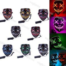 Ingrosso El Wire Mask Light Lampeggiante Halloween Cosplay LED Costume Anonimo illuminazione per vacanze anonime per la danza incandescente Carnevale feste fornitures eapacket