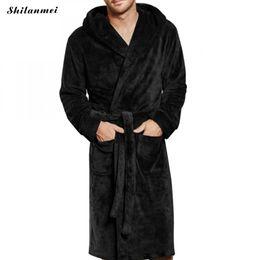 Mens Plus Size Silk Shirts UK - Men Luxury Winter Bathrobe Mens Warm Silk Flannel Long Kimono Bath Robe Male Bathrobes Night Dressing Gown Coat Plus Size