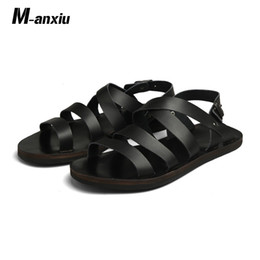 new design casual sandals Australia - M-anxiu 2019 New Design Summer Antiskid Gladiator Genuine Leather Buckle Strap Sandal Men Casual Flat Rubber shoes