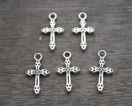 $enCountryForm.capitalKeyWord Australia - 100pcs lot Antique Silver Small Cross Charms Pendants Metal For Bracelets Necklace Earrings Bead Handmade Jewelry Findings DIY 21X11mm