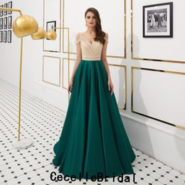 $enCountryForm.capitalKeyWord NZ - 2019 New Green A-line Satin Evening Dresses Luxury Beading Top Off the Shoulder Teens Formal Evening Prom Party Dress Real Photos