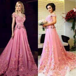 fe65bca5e02f Tony Chaaya 2019 Modern Evening Dresses 3D Floral Applique Off Shoulder  Dubai Arabic Kaftan Full length Princess Pink Custom Made Prom Dress