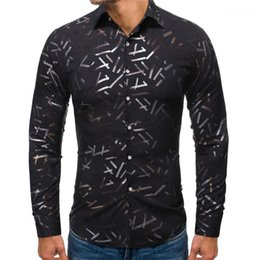 hot stamp printing NZ - Fashion Single Breasted Mens Casual Shirts Casual Long Sleeve Males Clothing Hot Stamping Print Mens Designer Shirts