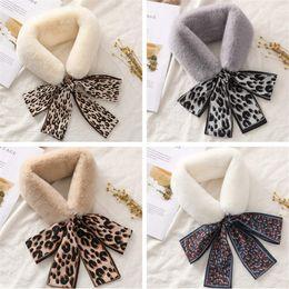 Soft toyS rabbit online shopping - 2019 New Women Rex Rabbit Fur Scarf Collar Fur Mufflers Ring Scarf Winter Warm Furry Scarves Leopard Ribbon Neck Warmer Soft